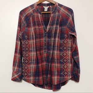 Sundance Great Western Plaid Embroidered Popover